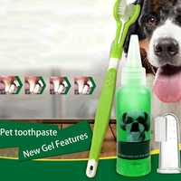 Kit Brush Addition Bad Breath Three Sided Dog Teeth Cleaning Pet Toothbrush Gel Toothpaste Finger Toothbrush For Puppy Cats
