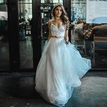 Thinyfull-vestidos de novia bohemia de dos piezas, Apliques de encaje, brillantes, para playa, vestidos de novia con cordones, Vestido Blanco