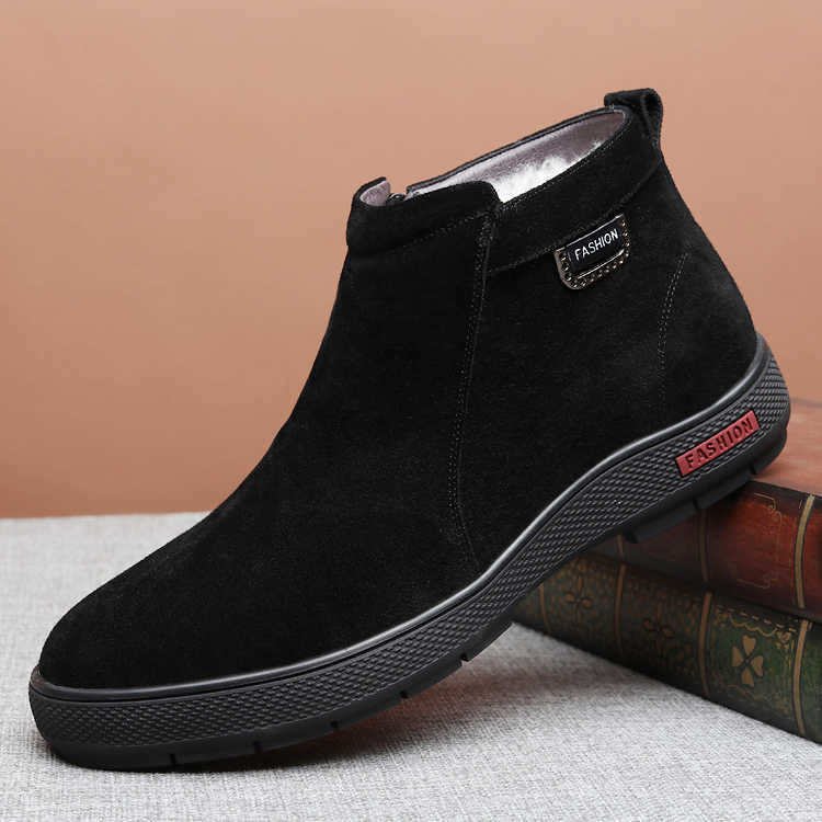 Winter Schapen Bont Mannen Suède Laarzen Luxe Fashion Designer Snowboots Slip Op Lace Up Business Casual Schoenen
