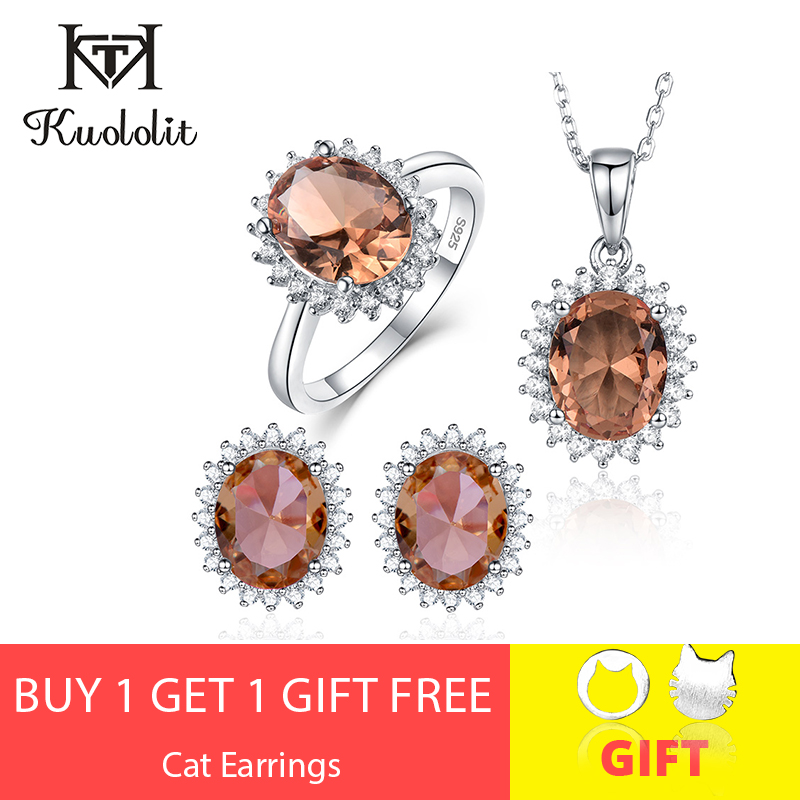 Kuololit Zultanite bijoux ensemble pour femmes solide 925 Sterling argent anneau boucles d'oreilles colliers changement de couleur pierre pour les femmes
