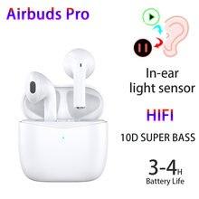 Airbuds pro tws airoha 1562a pk air3 i10 i500 tws super baixo fones de ouvido bluetooth sensor luz hd mic