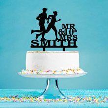 Topper personalizado do bolo de aniversário do casamento mr sra. nome casal que corre 10th 20th 30th 40th aniversário do bolo yc134