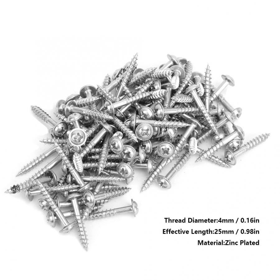 100 Pcs Stainless Self Tapping Screws Zinc Plated M4-25mm Oblique Self-Tapping Set Mechanical Electronic Tool  Screw Nut