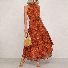 Summer Bohemian Women Dress Sleeveless Halter Vintage Maxi Long Sundress Boho Polka Dot Dress Beach Party Vacation Holiday M0154
