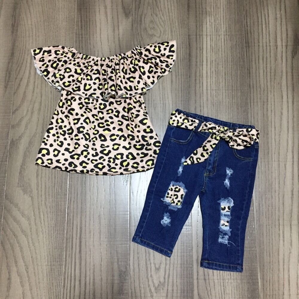 Baby Girls Spring Outfits Girl Leopard Raglans With Belt Jeans Baby Children Summer Clothing Set