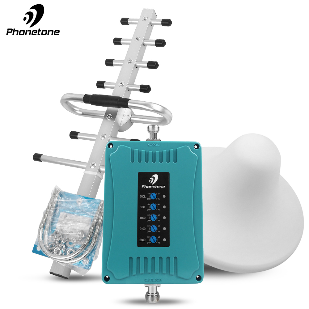 New 2G 3G 4G Repeater 700/900/1800/2100/2600MHz 70dB Cellular Signal Booster Mini Size Mobile Amplifier Set For Band 28/8/3/1/7