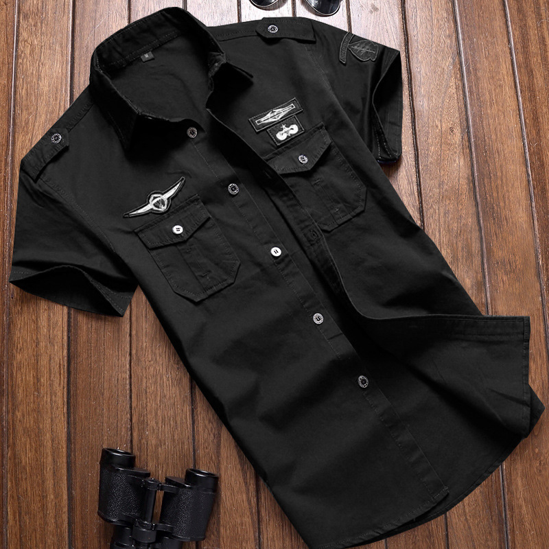 Military Shirt Men's Shirts Casual Style Fashion Clothing Cotton Short Sleeve Retro Vintage 6XL Embroidery Black Drop Shipping