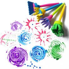 4pcs set Children #8217 s Painting Brush Set Sponge Roller Brush Diy Preschool Painting Material tanie tanio Color pp eva