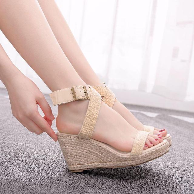 Sandalias de verano con plataforma y punta redonda para mujer, calzado informal con cuña y punta redonda