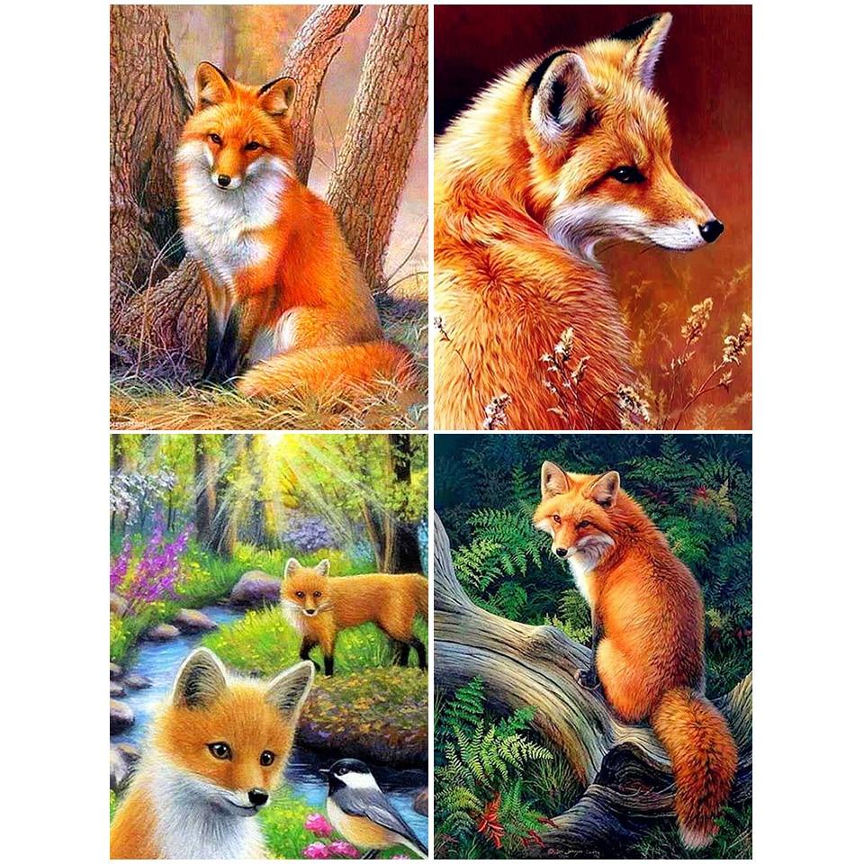 5D DIY Diamond Painting Full Square Fox Cross Stitch Kits Embroidery Diamond Mosaic Animals Foxs Pictures Of Rhinestones Decor