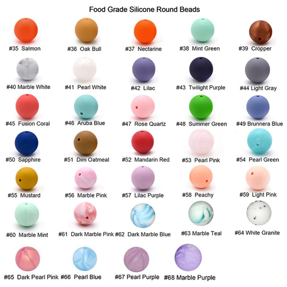 100pc Silicone Baby Teething Beads 15mm Safe Food Grade Care Chew Round BPA Free Silicone Beads Teether Nursing Necklace