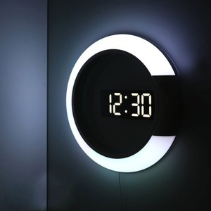 Image 3 - 3D Led Wandklok Digitale Tafel Klok Alarm Spiegel Holle Wandklok Modern Design Nachtlampje Voor Thuis Woonkamer Decoraties