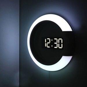 Image 3 - 3D светодиодный настенные часы цифровые настольные часы будильник Зеркало полые настенные часы современный дизайн ночник для дома гостиной украшения