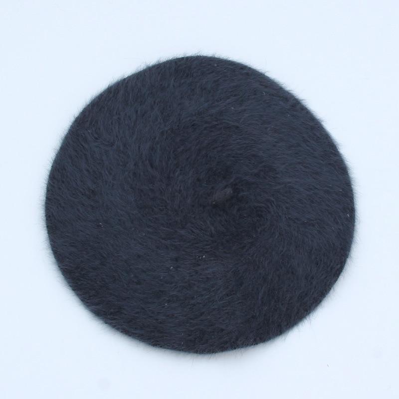 1 шт. женская элегантная разноцветная Шапка-берет из меха кролика - Цвет: black