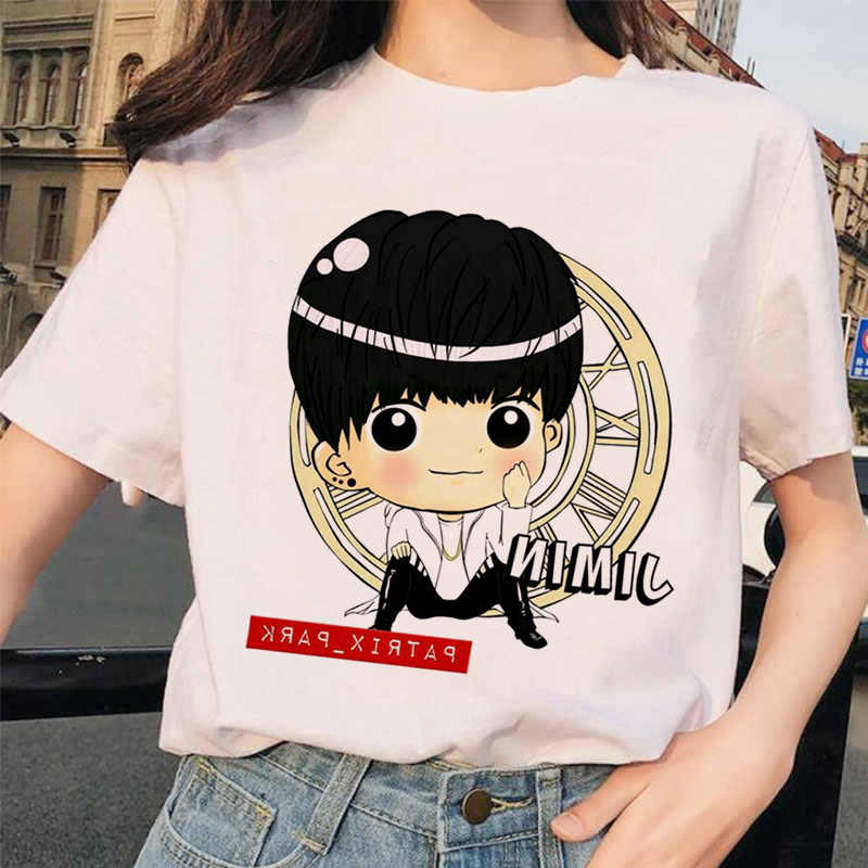 Verão 2020 nova camiseta feminina dos desenhos animados bonitos meninos estilo boneca diy adorável coreano-estilo casual fino ajuste tripulação pescoço camiseta