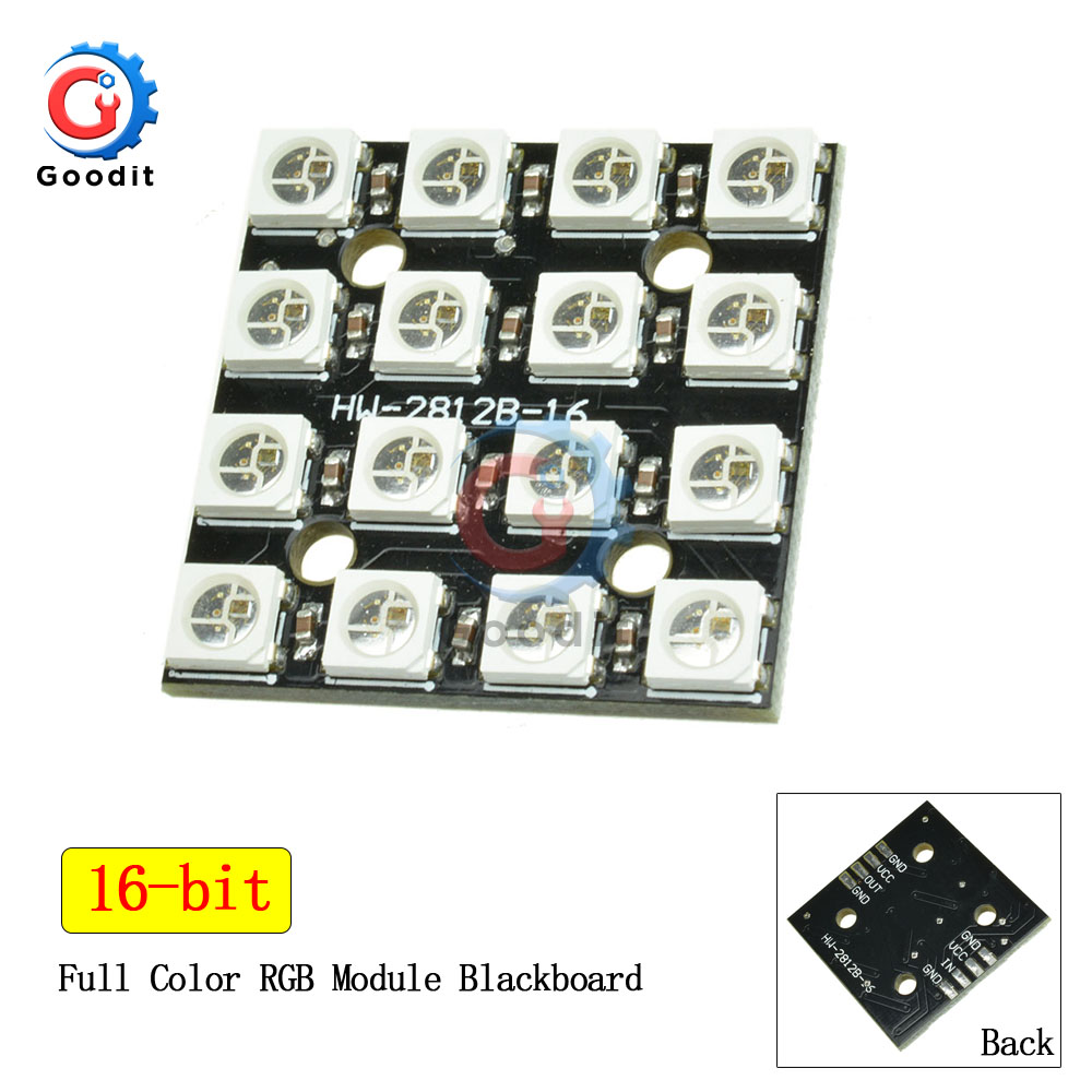 WS2812B RGB LED Ring 16 Bits WS2812 5050 RGB LED Lights With Integrated Driver Module For Arduino 16bit LED Lamp Panel