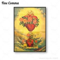 O coração imaculado de mary vintage poster sagrado coração arte da parede sangramento sagrado coração pintura em tela impressão em tela mexicano folclórica
