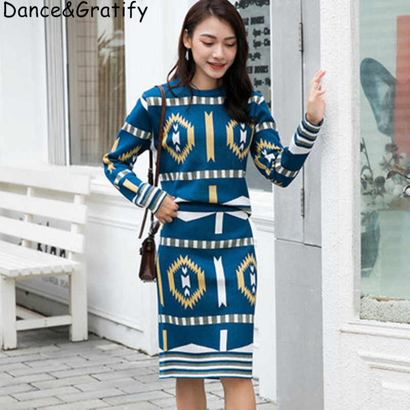 High Quality Women Jacquard Runway Set Knitting Jumper Tops And Bodycon Skirts Vintage 2 Pieces Sweater Pullovers Suit