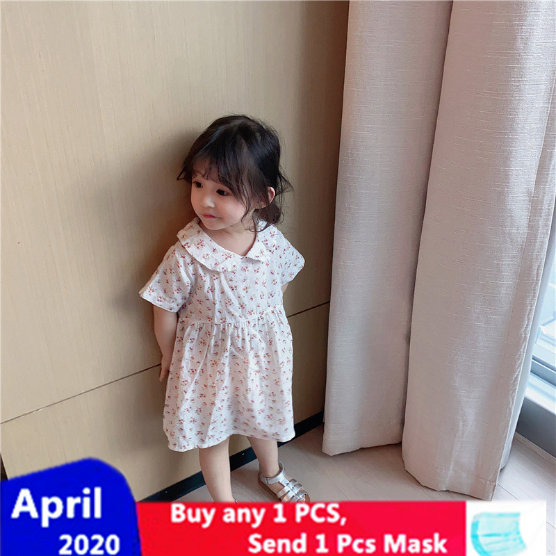 XINI MOMMY 2020 Summer Floral frock Cotton thanksgiving dress Casual princess costume A-Line girl dresses Regular Y269