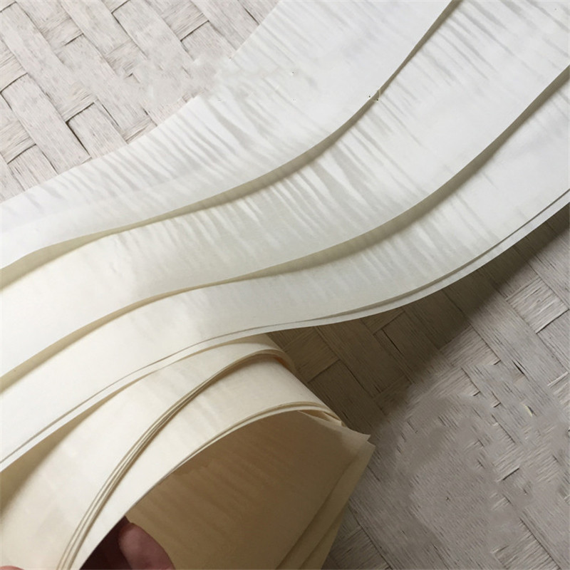 2x Natural Veneer Genuine Bleached Dye Quilted Ribbon Stripe Veneer Excellent Panel EP For Furniture 16x250cm White