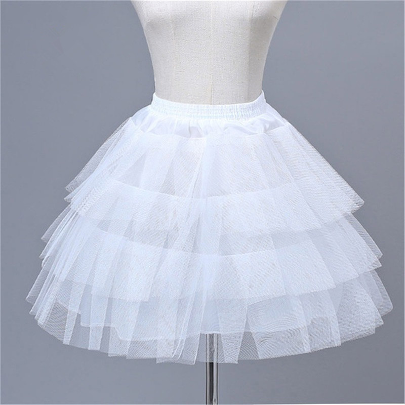 In Stock White Top Quality Ballet Petticoat Ruffle Tulle Short Crinoline Bridal Petticoats Lady Girls Child Underskirt Jupon