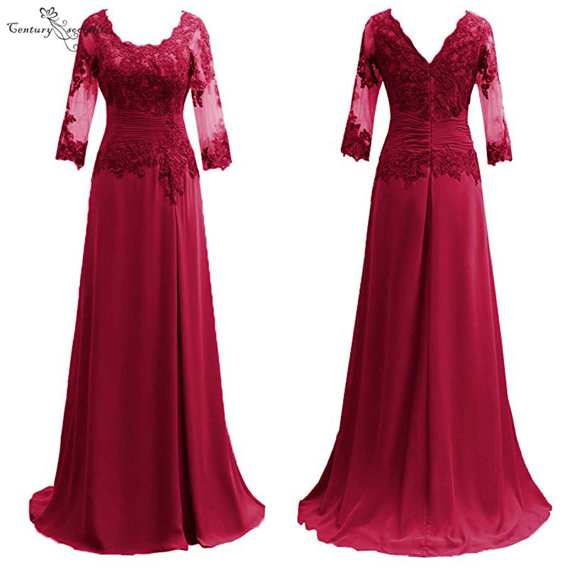 Burgundy <font><b>Mother</b></font> Of the Bride Dresses Long Sleeves Formal Gowns Lace Appliques Pleats O-Neck Chiffon Wedding Guest Dress 2020 image