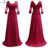 Burgundy Mother Of the Bride Dresses Long Sleeves Formal Gowns Lace Appliques Pleats O Neck Chiffon Wedding Guest Dress 2020