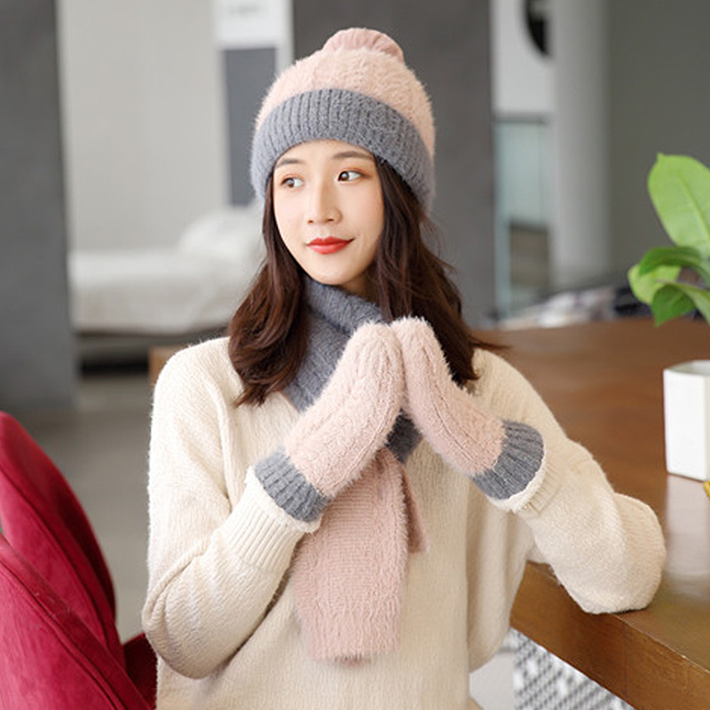 Women Winter Beanie Hat Scarf And Gloves Sets Knitted Cotton Fashion Women Solid Warm Beanies Hats With Pompon Scarf Gloves Sets
