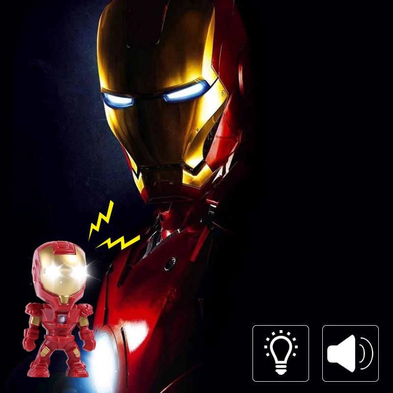 Marvel Superhero Iron Man Pendant Keychain The avengers alliance LED keychain with LED Light & Sound keyring Action Figure