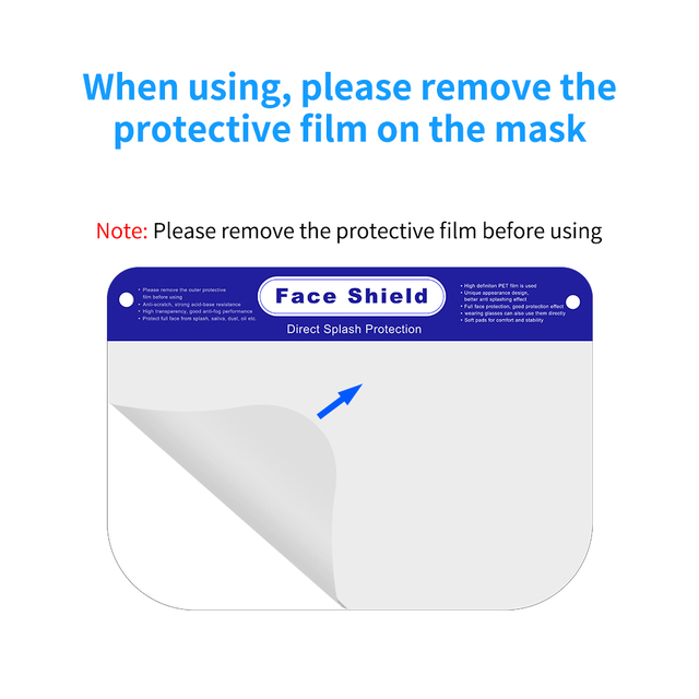 300pcs/lot Full Face Shield for Men Women ,Disposable Protective Face Shield Anti Splash and Saliva Clear Film Protect Face 5