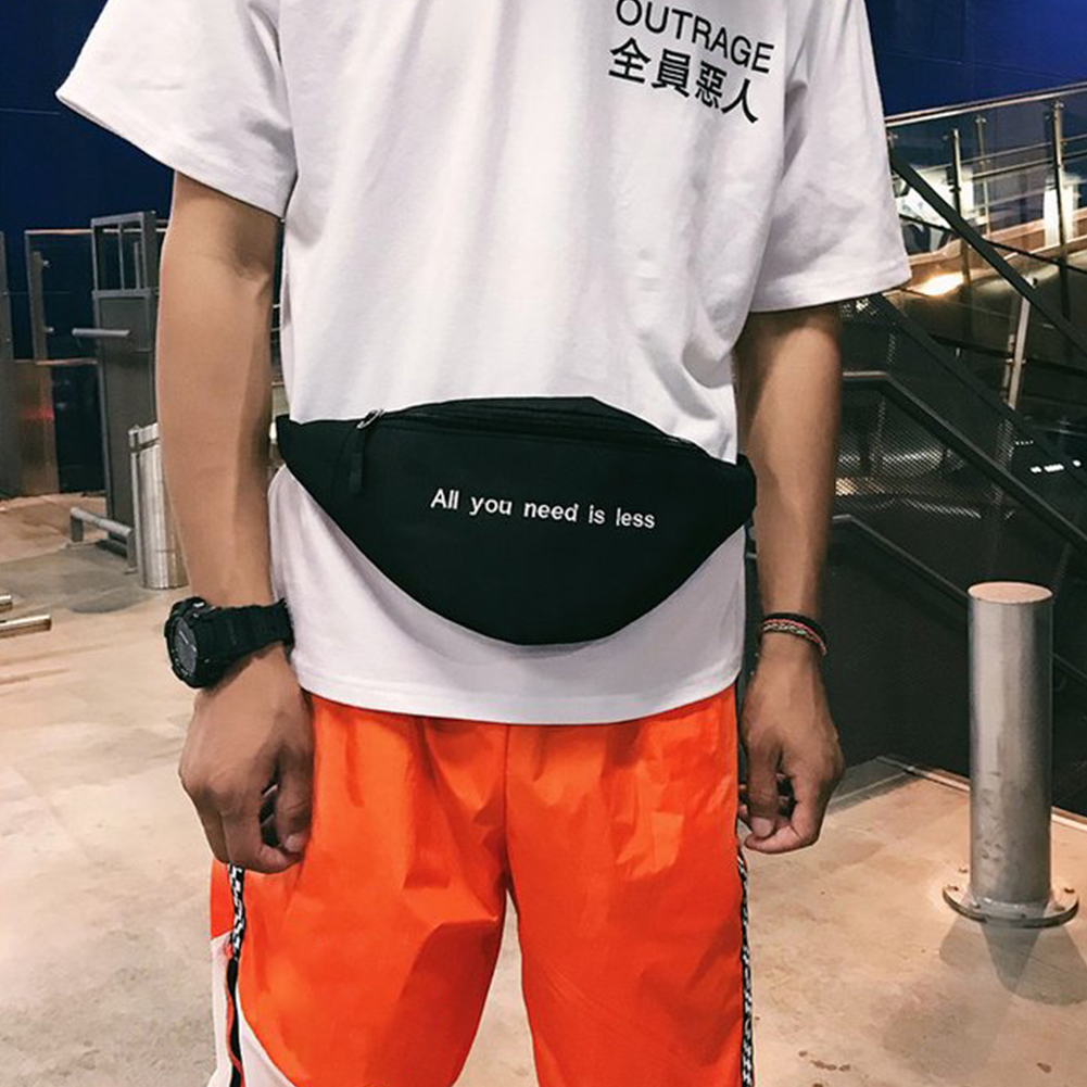 Casual Crossbody Pouch Chest Fanny Pack Portable Travel Letter Print Unisex Fashion Purse Hip Hop Sports Canvas Waist Bag Gift