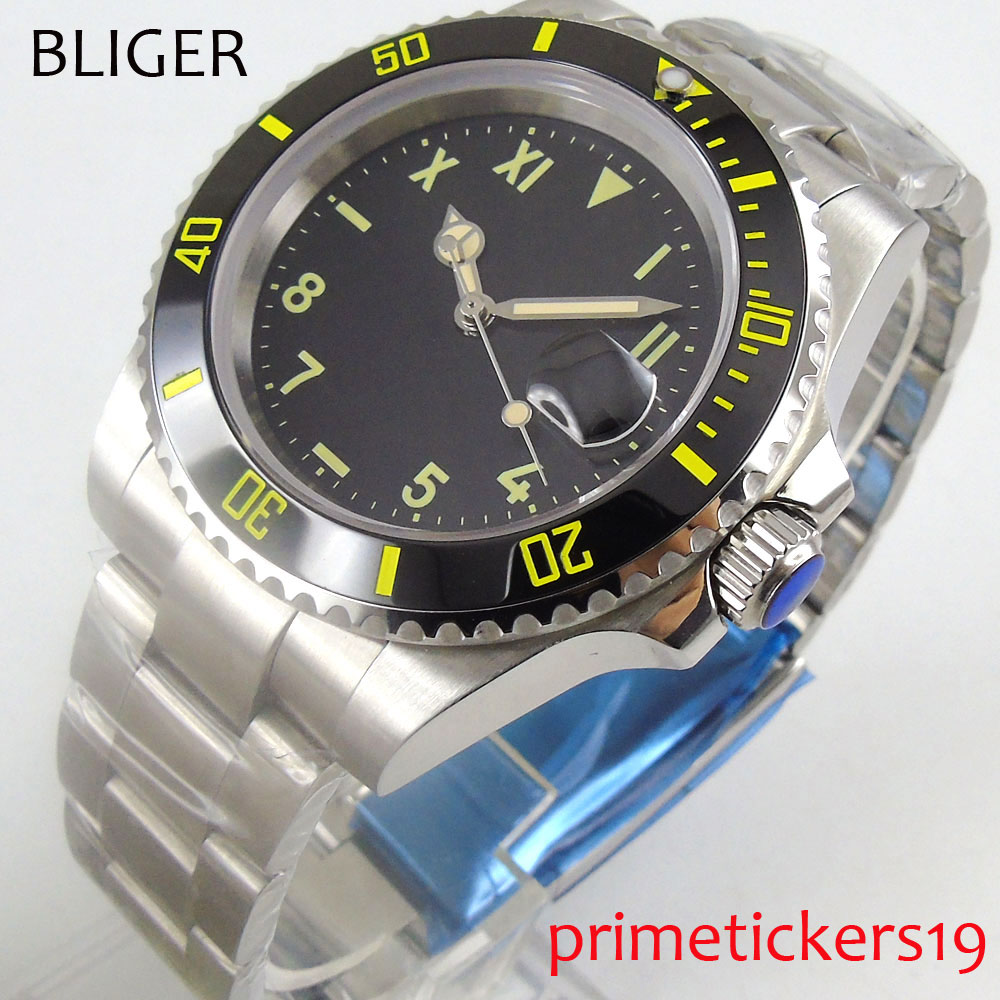 BLIGER 40mm black sterile dial ceramic bezel mental deployment clasp yellow marks automatic movement mens watch