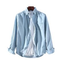 Helisopus 3 Colors Spring Men Shirt Long Sleeve Casual Cotton Denim Shirts Slim Fit Cowboy Long Sleeve Shirt Male Fashion Top long sleeve patch design suede insert denim shirt