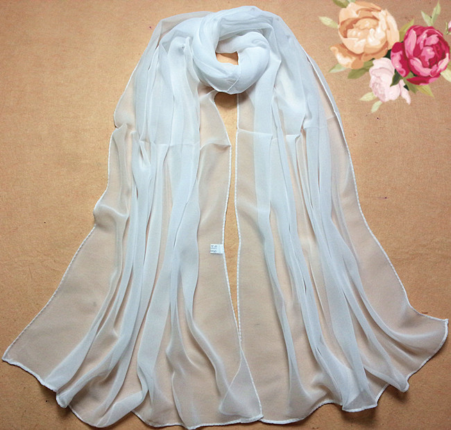 Zerotime #H5 2019 New Fashion Summer Beach Style 100% Silk Pure White Soft Thin Oblong Scarf Shawl For Girls Gift шарф женский
