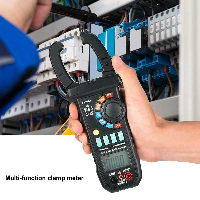 FY2108 Digital Clamp Meter Multimeter Voltmeter Ammeter 600A AC/DC Ohm Voltage Current Testers Meter FKU66