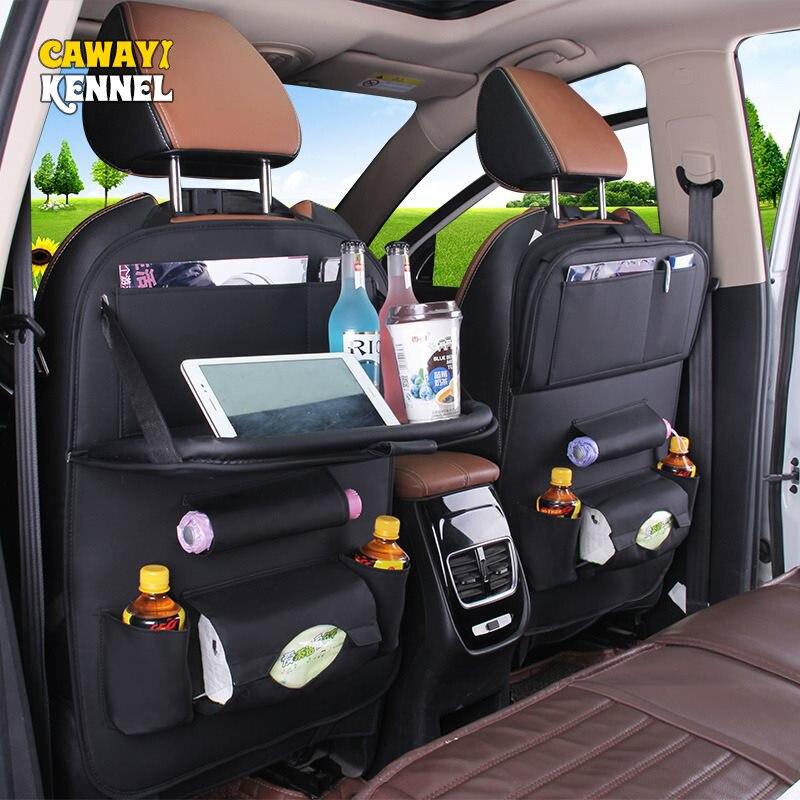 Pu Leather Car Back Seat Organizer Car Seat Storage Bag Tray