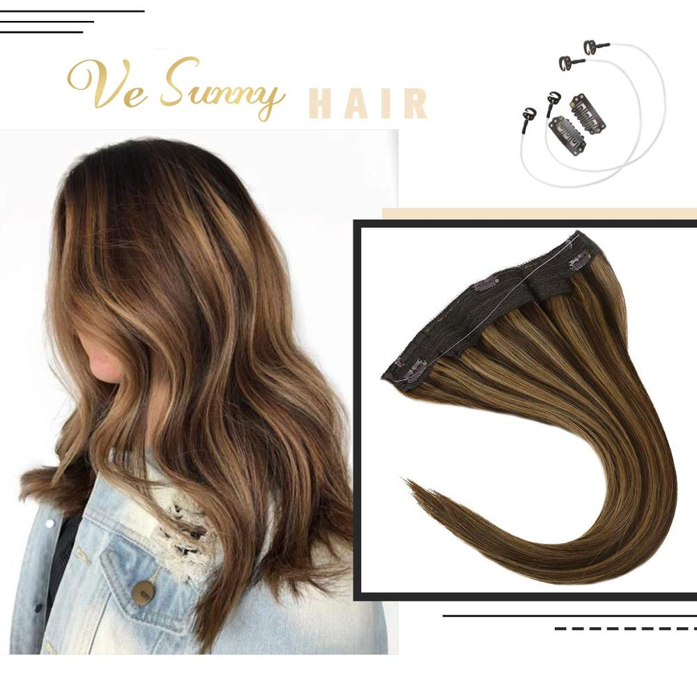 VeSunny Invisible Halo Hair Extensions Real Human Hair Fishing Hair Flip in Wire with 2 Clips on Highlighted Brown Color #4/27
