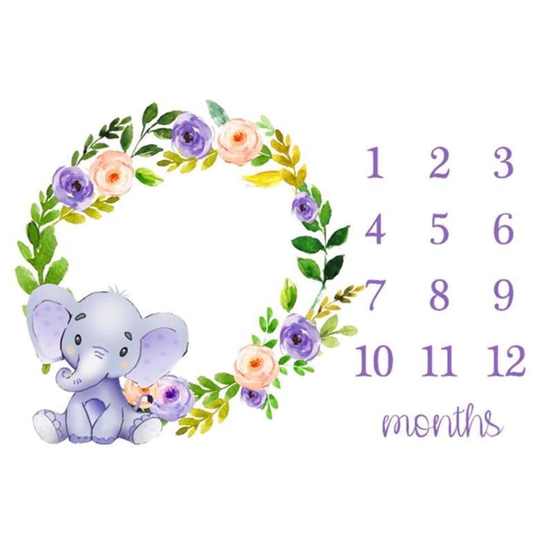 Baby Monthly Milestone Blanket Newborn Photo Props Shoots Backdrop Personalized Infants Growing Toddlers Swaddle Blanket