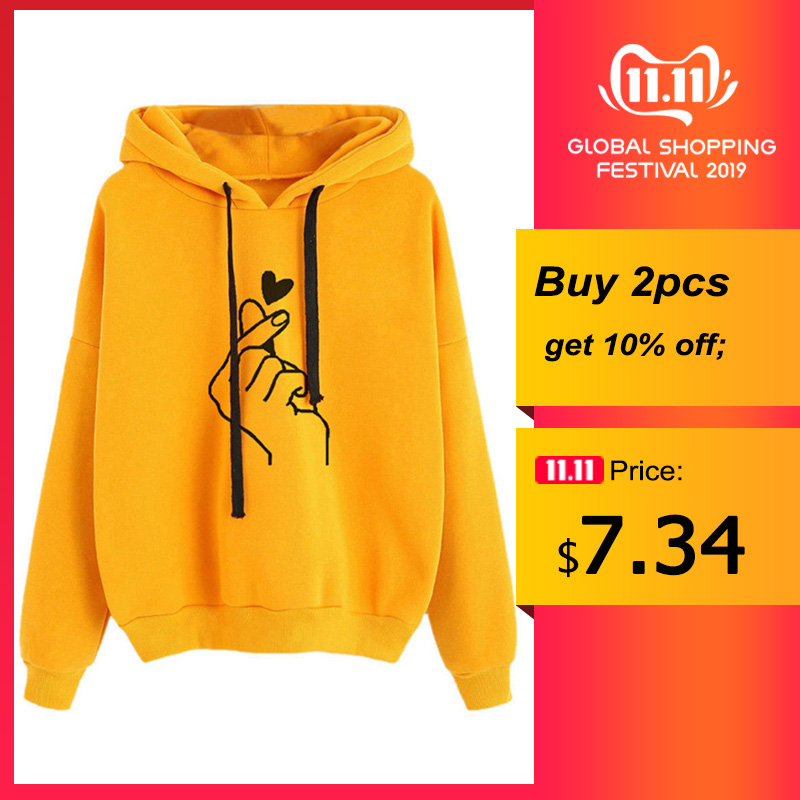 Oversized Hoodies Women Love Heart Print Hooded Autumn Casual Pullover Long Sleeve Sweatshirts Female Hoodies Plus Size
