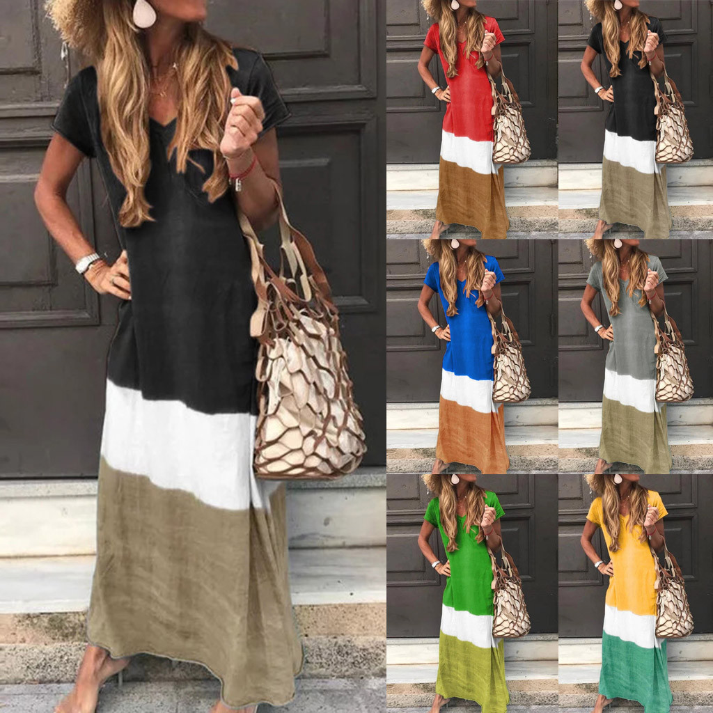 Fashion Women Daily Tie-dyed Color Block Loose V Neck Short Sleeve Maxi Long Dresses Female Dress Vestidos Plus Size 2020