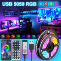 Bluetooth 5V USB Led Strips Lights 1M-30M 5050 RGB Flexible Ribbon Diode Tape Desktop Screen For TV BackLight Decoration Bedroom