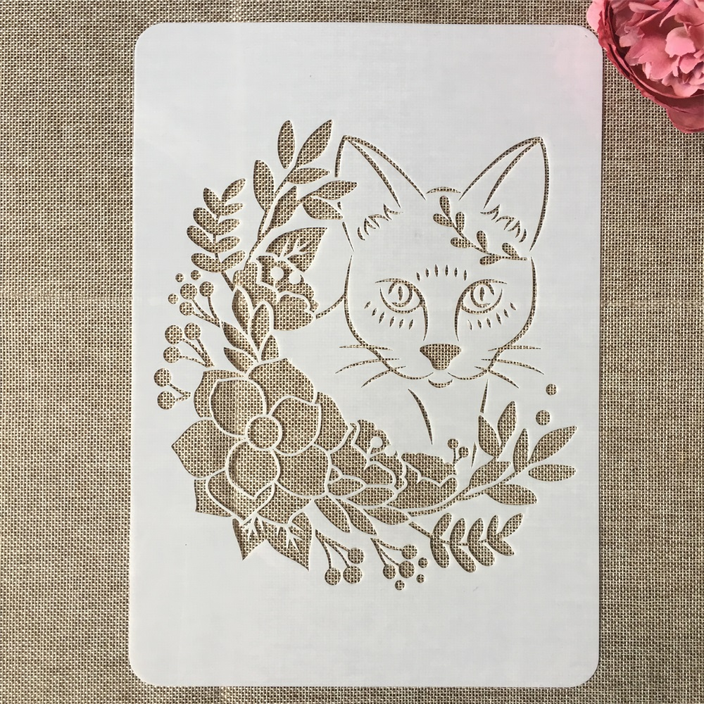 A4 29cm Fox Leaves Animals DIY Layering Stencils Painting Scrapbook Coloring Embossing Album Decorative Template