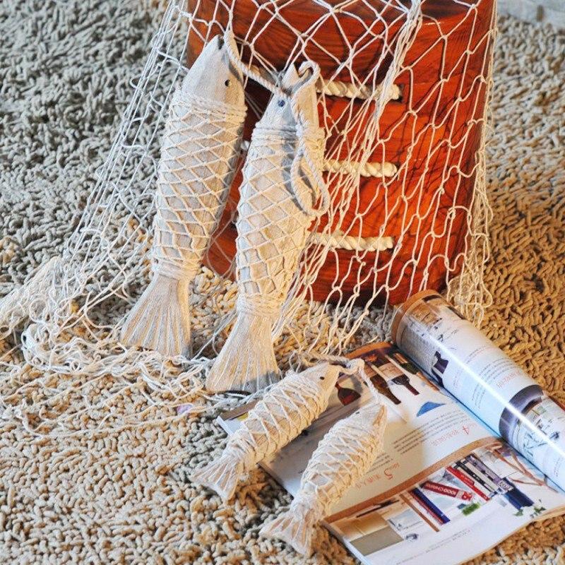 Décoration de la Maison Antique décoratif brochettes de poisson sculpture sur bois poisson méditerranéen ménage rétro décoration Maison décor à la Maison