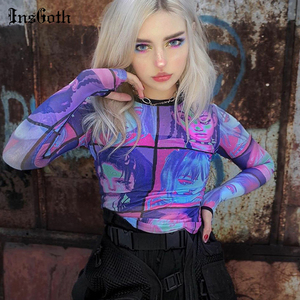 InsGoth Harajuku Mesh Long Sleeve Tops Women Sexy Hollow Out Bodycon Print Female Tops Streetwear Casual Purple T-shirt Summer