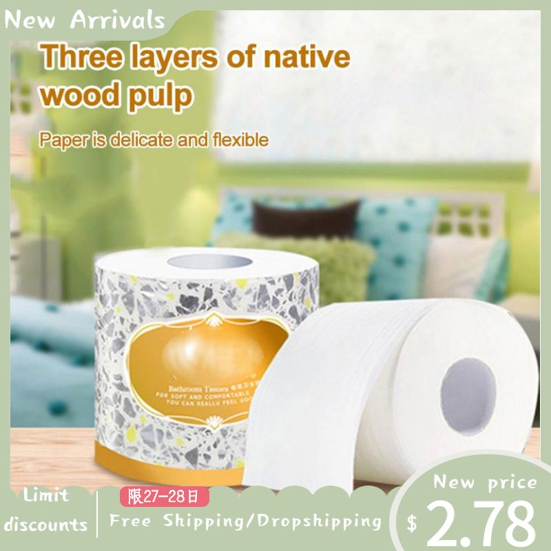1 Roll 3 Layers Paper Towel Household Toilet Paper White Soft Texture Tissue Multifunctional Paper Towel Fast Delivery TSLM1