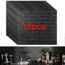 12 sztuk panele z pianki cegły 3D naklejki ścienne samoprzylepne DIY tłoczone kamień tapety wystrój domu salon dekoracji kuchni
