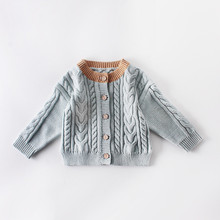 Single-breasted Cardigan Casual Top Autumn Winter Toddlers Knitted Outwear Little Boys Girls Sweet Style Solid Color Long Sleeve