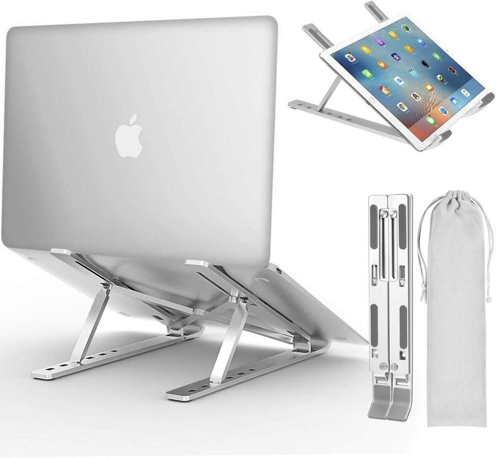 Laptop Stand, GOOJODOQ Adjustable Aluminum Laptop Notebook Stand Tablet Stand Foldable Portable Desktop Holder For MacBook