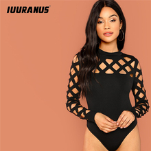 купить IUURANUS lack Going Out Skinny Knot Mid Waist Mock Neck Stand Collar Geo Cut Out Bodysuit 2019 Summer Fashion Women Bodysuits дешево