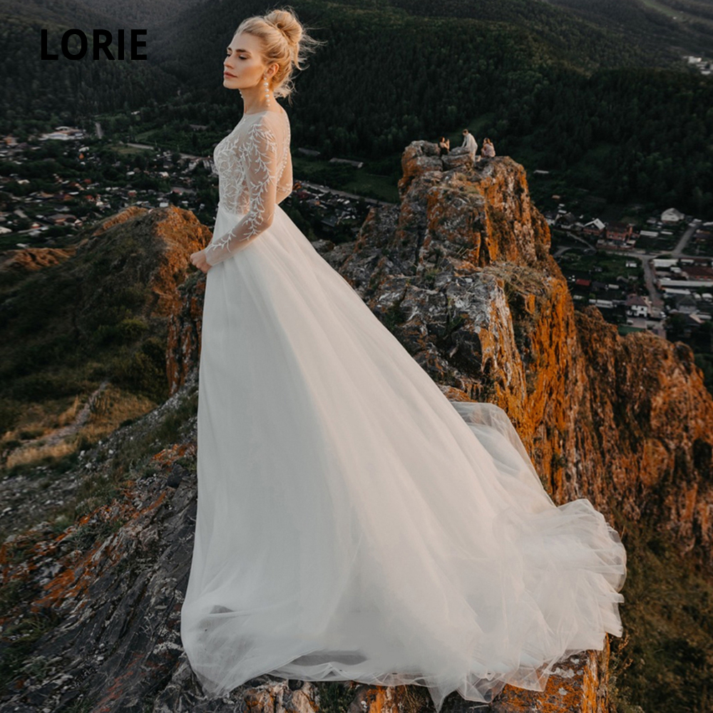 LORIE 2020 Long Sleeves Bohemian Wedding Dresses Lace Appliques Bridal Gowns Boho Illusion Beach Wedding Gowns Vintage Plus Size